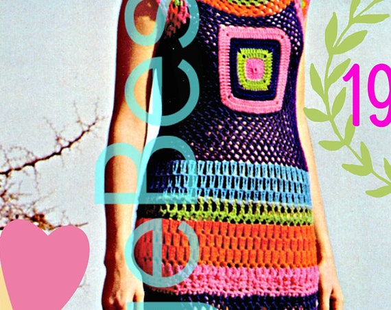 Maxi DRESS Crochet Pattern • Vintage 70s Crochet Striped Lace Stitch Motif Dress • MAXI Dress • Long Dress • Watermarked PDF Only