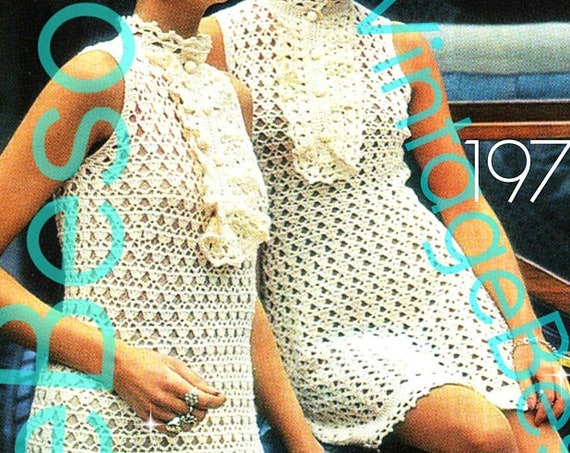 Dress Crochet Pattern • INSTANT DOWNlOAD • PdF Pattern • Retro 1960s • Jabot Dress Maxi Dress Mini Dress Crochet Pattern • Summer Wear Party