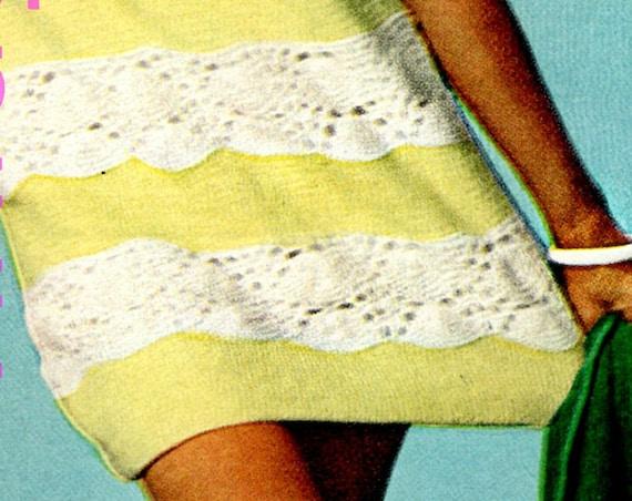 Beach Dress KNITTING Pattern • 1960s Vintage Ladies Sleeveless Dress Mod Summer Wear VintageBeso • Watermarked PDF Only