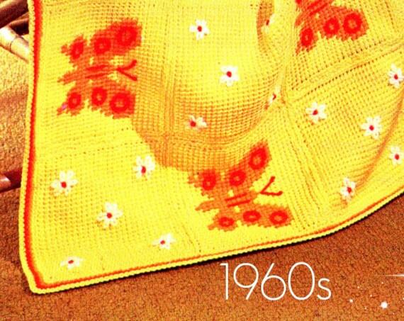 Butterfly Afghan CROCHET Pattern Retro 1960s Butterfly Embroidery Pattern Afghan Crochet Pattern Instant Download PDF Pattern