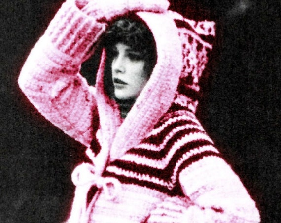 Hooded Sweater plus Mittens 1970s Vintage Crochet Pattern Coat and Mittens Instant Download PDF Instant Download jacket & mittens Free Gift