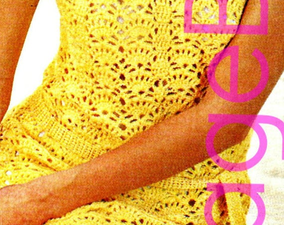 Vintage Dress Crochet Pattern • Ladies Dress Summer Wear is a Sexy 1960s Cocktail MOD 34-38 Bust • Watermarked PDF Only