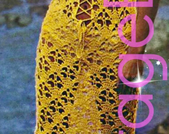 Sexy Vixen CoverUp • Maxi Dress • Vintage Crochet PATTERN • 1970s Dress Bikini Swimsuit CoverUp • Watermarked PDF Only