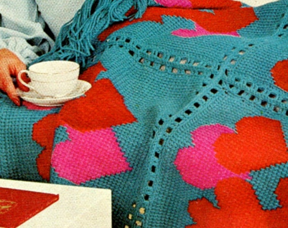 Hearts Afghan Crochet PATTERN • Vintage worked in Afghan Stitch • Vintage Crochet Pattern • USA Pattern • Watermarked PDF Only