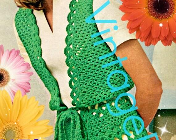 Vest Crochet Pattern Vintage 1970s • INSTANT DOWNlOAD • PdF Pattern • Vest Jacket Crochet Pattern Long Vest Coat Pattern