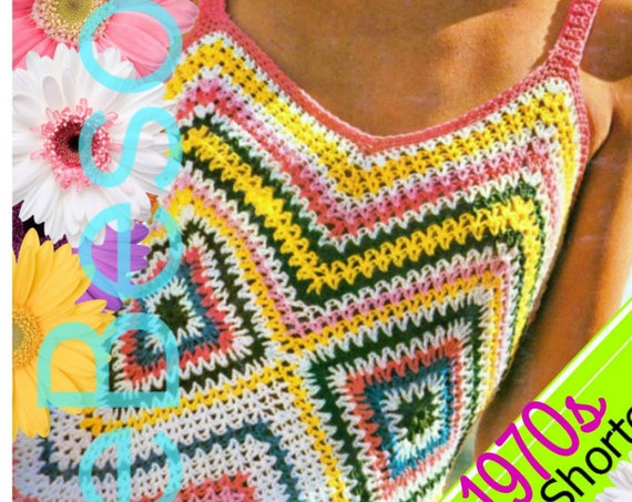 Sun Dress Crochet Pattern • Vintage 1970s Chevron Maxi Dress Crochet Pattern + 1950s Free Gift VintageBeso Zig Zag • Watermarked PDF Only