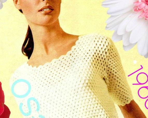 EASY Crochet Dress PATTERN • 1960s Ladies Dress Crochet • Summer Wear • Vintage Pattern with Petal Edge Trim • Watermarked PDF Only