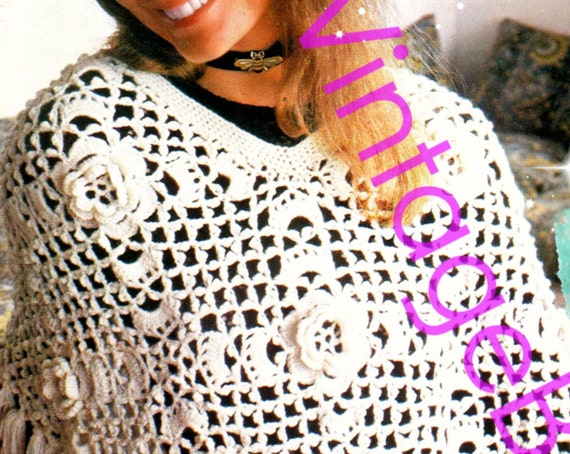 Poncho Crochet Pattern • Vintage • Dreamy Flowers • Instant Download • 1970s Retro • PDF Pattern • Boho • Gypsy