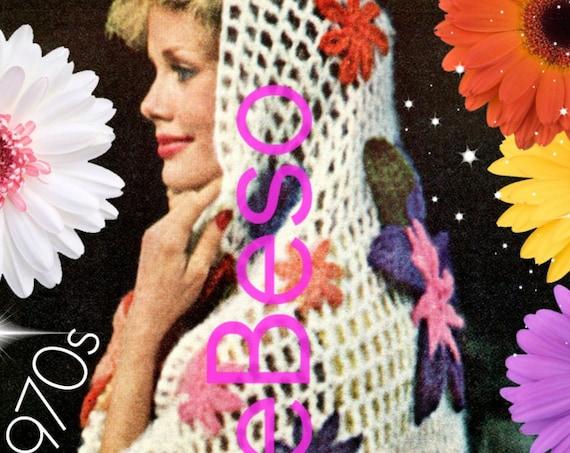 Shawl Crochet Pattern Vintage 1970s • INSTANT DOWNlOAD • PdF Pattern • Shawl Exotic Flower Crochet Pattern Feminine Gorgeous Crochet Pattern