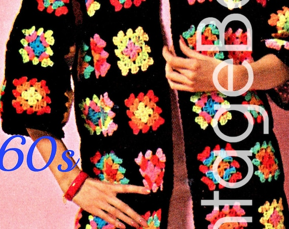 Mod Crochet Pattern • Sweater Coat • Vintage 1960s Ladies Edge to Edge Granny Square Jacket or Cardigan Sizes 10 - 20 • Watermarked PDF Only