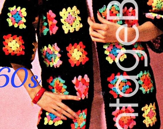 EASY Granny Square Coat CROCHET Pattern • 1960s Bohemian • Great 4 Beginners • Vintage Jacket • Boho Crochet Pattern • Watermarked PDF Only