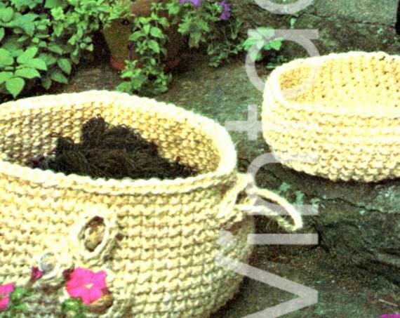 "INSTANT DOWNlOAD - PdF Pattern - 3 BASKETS 1970s Vintage CROCHET Patterns - Largest 24"" diameter 9"" deep - Smallest 12"" diameter 6"" deep"