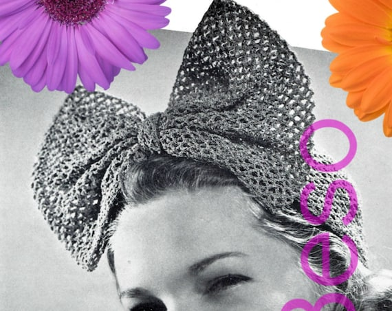 Snood Crochet Pattern 1940s Saucy Bow Crochet Pattern • INSTANT DOWNlOAD PdF Pattern • Turban Crochet Pattern Hairnet WWII Rosie the Riveter