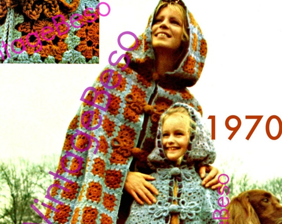 Hooded Cape Crochet Pattern • Vintage 1970s • Mother Daughter Cloak • Coat • Jacket • Watermarked PDF Only