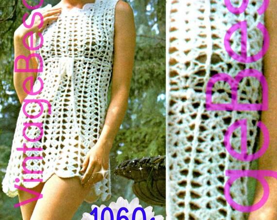 Lace Dress Crochet Pattern • 1960s Beach Dress • Vintage Crochet Pattern • Goddess Dress • Sexy Shift Dress • Watermarked PDF Only