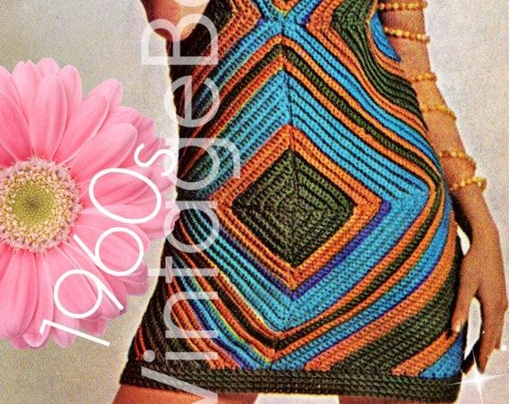 Bodycon Dress CROCHET PATTERN • 60s Retro Crochet Pattern • Sexy Dress that Slims You Pattern Summer Ladies • Watermarked PDF Only