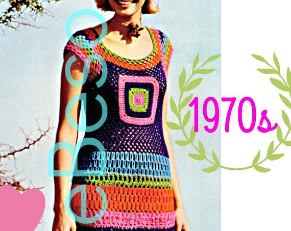 Ladies Maxi Dress Vintage CROCHET Pattern • Retro 1970s Striped Dress • Summer Wear with Cap Sleeves • Vintage Beso • Watermarked PDF Only