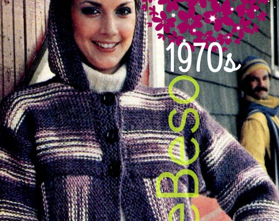 Hooded Jacket KNITTING Pattern • so EASY to KNIT • Instant Download • PdF Pattern • Vintage 1970s Knitting Pattern