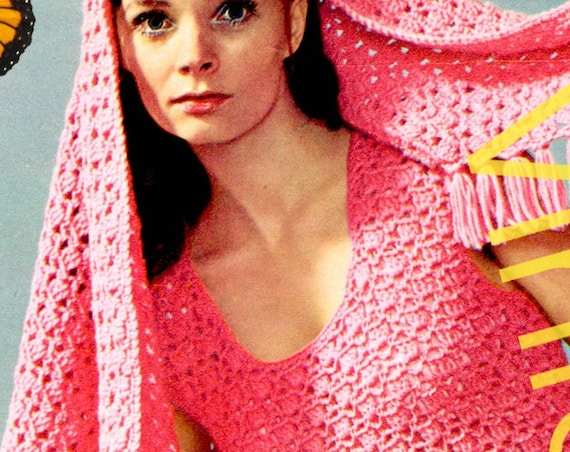 2 Crochet Patterns: Sexy Fringe Dress with Stole Crochet Pattern • Sleeveless for Cool Summer Evenings • Vintage 70s • Watermarked PDF Only