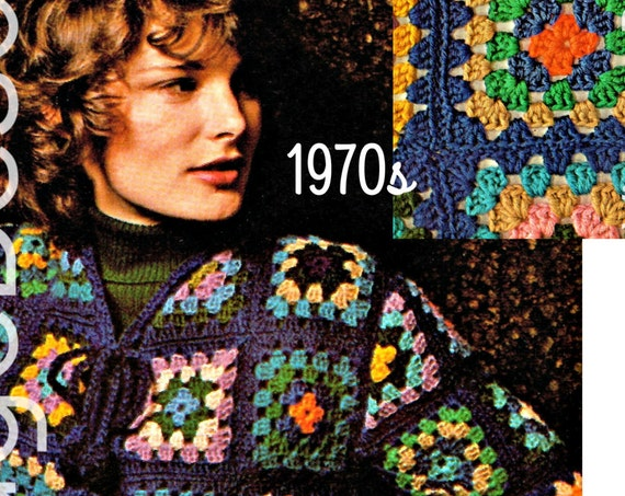 GRANNY SQUARE Jacket Crochet Pattern • Instant Download • Jacket • Vintage 1970s • Coat Retro Sweater • Boho • Hippie • Watermarked PDF Only