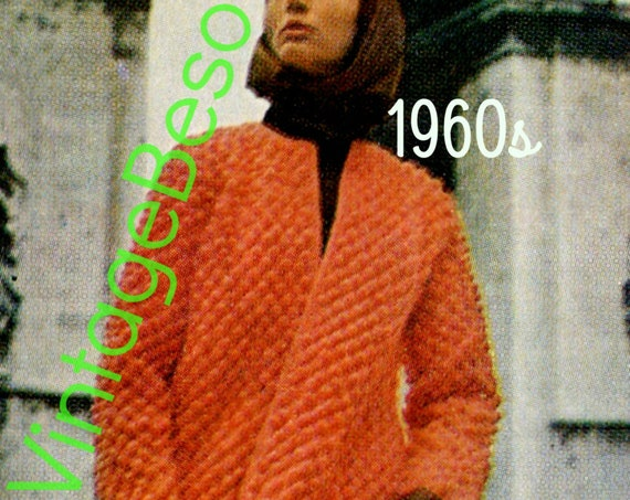 Paris Coat Crochet Pattern • French 1960s Retro Coat • Ladies Coat CROCHET Pattern with or without Lining, you decide • Watermarked PDF Only