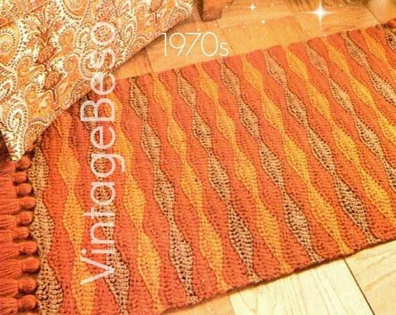 2 EASY Rug Crochet Patterns • Home Crochet Patterns • 1970s Rug Crochet Pattern • Bohemian Vintage • Bathroom Foyer • Watermarked PDF Only