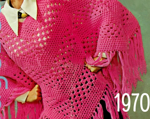 PONCHO Crochet PATTERN • Vintage 1970s • Popover • Lovely Long Fringe • Fun Peekaboo Stripes • Watermarked PDF Only