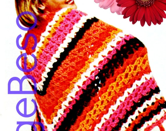 Giant Granny Square Afghan Crochet PATTERN • Vintage 1970s Afghan Shell Stitch Shawl Fringe • Watermarked PDF Only
