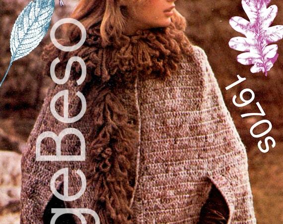 Cape and Boa Crochet Pattern • Big Bushy Boa • 1970s Cape Crochet Pattern • Vintage Boa Crochet Pattern • Feminine • Watermarked PDF Only