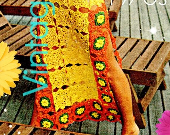 Maxi Dress Crochet PATTERN • Vintage 1970s Sexy See Through Caftan • Cover Up for Bikini • Beach Wedding Dress • Watermarked PDF Only