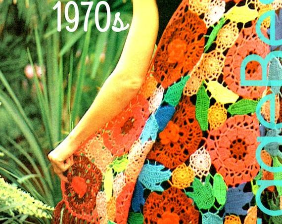 Shawl Crochet Pattern • Vintage 1970s Shawl Floral Crochet Pattern Boho Chic Rose Poppy Bluebell Zinnia Leaves • Watermarked PDF Only
