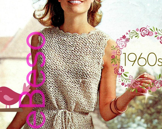 EASY Summer Dress CROCHET Pattern • Vintage 1960s Ladies Wear Shift Dress w Lovely Petal Edging and PomPom Belt • Watermarked PDF Only