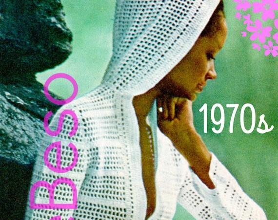 Top CROCHET PATTERN Retro 1970s Hooded Sweater Crochet Pattern Filet Crochet Beach Jacket Coverup • Watermarked PDF Only