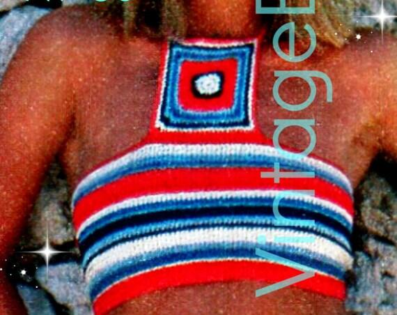 Top Crochet Pattern 1970s • Horizontal Striped Halter Top Crochet Pattern • Bohemian Top Crochet Pattern • Instant Download • PDF Pattern