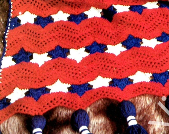 Americana AFGHAN Crochet PATTERN • Vintage 1970s Stars and Stripes • American Flag Patriotic Independence Day Afghan • Watermarked PDF Only