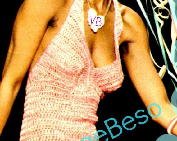 Dress Crochet PATTERN • 1970s Prom Halter Dress Sexy Party Dress Feminine Ladies Summer Wear Evening Dress • Watermarked PDF Only