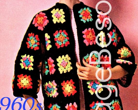 Easy Crochet Pattern Vintage 1960s The Boho Granny Square Coat Festival Coat Hippie Sweater Jacket Clothing • Watermarked PDF Only