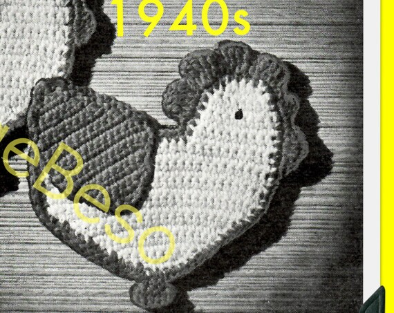 POTHOLDER CHICKEN Crochet Pattern • Retro Wartime 1940s Pattern Fun Country Home Decor Free Pattern Gift 1950s • Watermarked PDF Only