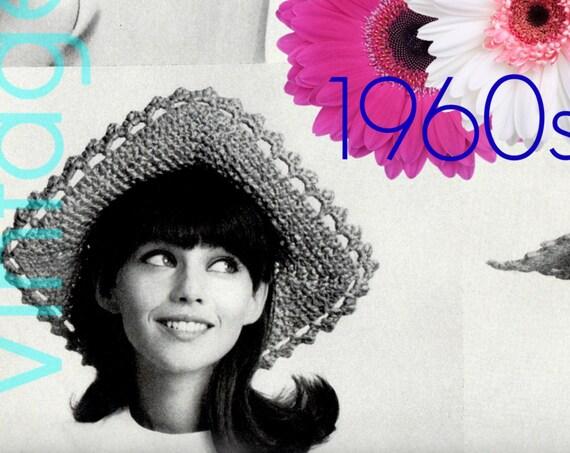 EASY HAT Crochet Pattern • 1960s Fresh Beauty • Square Brim Hat • Vintage Crochet Pattern • Easy Hat Single Crochet • Watermarked PDF Only