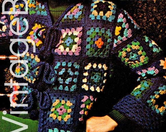 Jacket Crochet Pattern • 1970s Granny Square Motif Style • Classic Out of the Blue Coat • Retro • Vintage Crochet • Watermarked PDF Only
