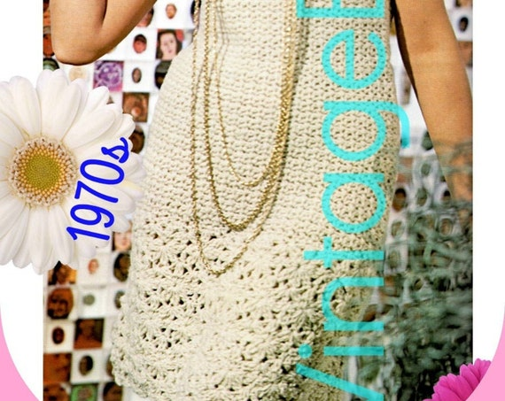 Dress Crochet Pattern • 1970s Vintage Sleeveless Dress • Tea Time Party Summer Festival Resort Vintage Beso • Watermarked PDF Only