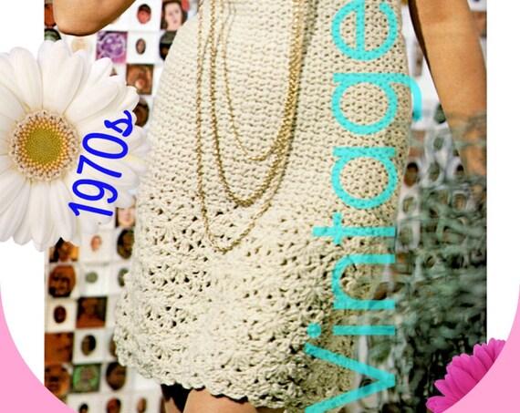 Dress Crochet Pattern • 1970s Vintage Sleeveless Dress • INSTANT DOWNLOAD • PdF Pattern • Tea Time Party Summer Festival Resort Vintage Beso