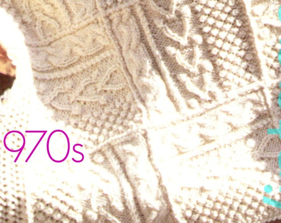 Afghan Knitting PATTERN Vintage • 1970s Shannon Afghan • Irish Fisherman Afghan Pattern • Vintage Beso • Watermarked PDF Only