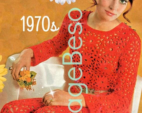 Pantsuit Crochet Pattern • Top Crochet Pattern • Pants • Dress Crochet Pattern Sexy 70s BOHO • Peekaboo Clothing • Watermarked PDF Only