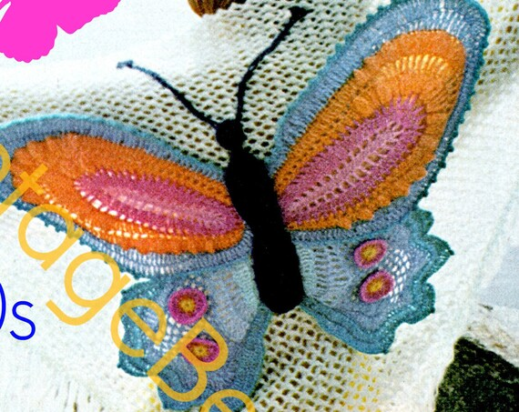 Shawl Crochet PATTERN • 1970s Ladies Butterfly Colorful Triangular Fringe Wrap • Vintage Crochet Pattern • Watermarked PDF Only