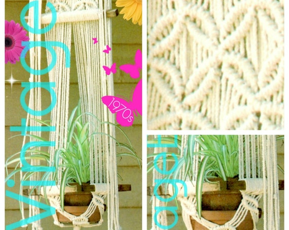 Plant Hanger Macrame Pattern • INSTANT DOWNlOAD • PdF Pattern •  1970s Vintage Planter • Lovingly ENLARGED Print and Diagrams