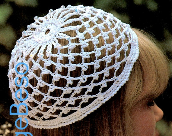 Vintage 1970s Wedding Cap Crochet PATTERN Juliet Beanie Glass Beads Beanie Crochet Pattern Snood • Watermarked PDF Only