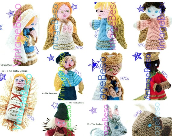 20+ Characters Nativity Crochet PATTERN Vintage 1970s Virgin Mary Baby Jesus Joseph Angels Three Kings Pattern Instant Download PDF Pattern