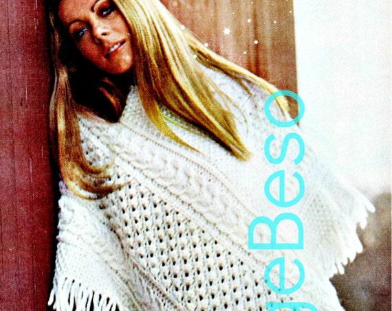 INSTANT DOWNlOAD • PdF Pattern • Aran Poncho Knitting Pattern • Vintage 1970s Irish Aran Knit V neck PONCHO Boho Cowgirl Hippie Country Chic