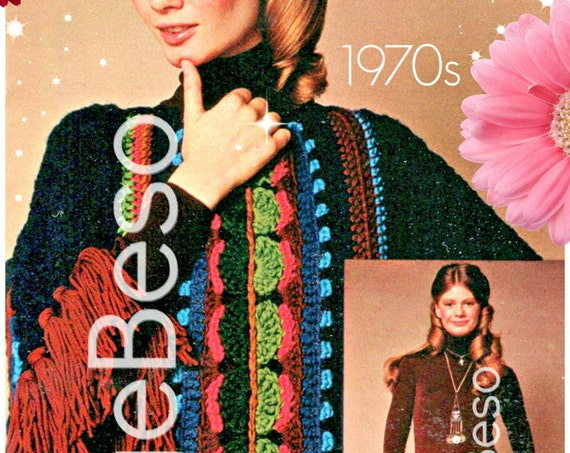 RARE Unique Poncho Skirt Crochet Pattern • Bohemian Clothing • Vintage 1970s SKIRT • Rare Hard to Find Boho Chic • Watermarked PDF Only